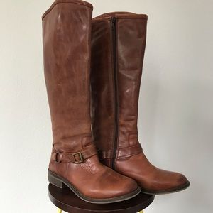 Hinge // Dakotah Cognac Leather Riding Boots 6.5